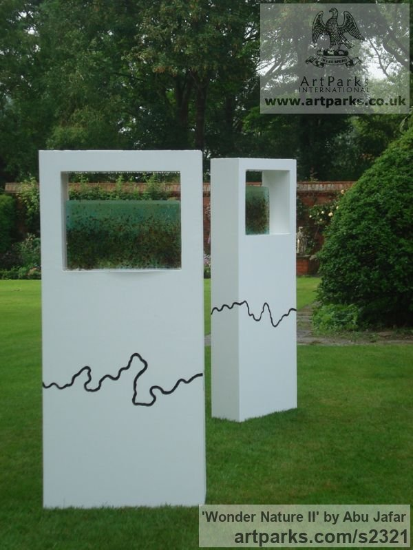 Steel, Gold and fused glass Garden Or Yard / Outside and Outdoor sculpture by sculptor Abu Jafar titled: 'Wonder Nature II (abstract Rectangular garden sculptures)'