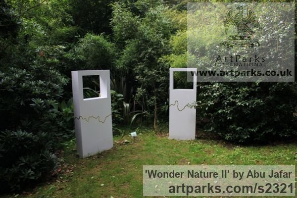 Steel, Gold and fused glass Garden Or Yard / Outside and Outdoor sculpture by sculptor Abu Jafar titled: 'Wonder Nature II (abstract Rectangular garden sculptures)' - Artwork View 2