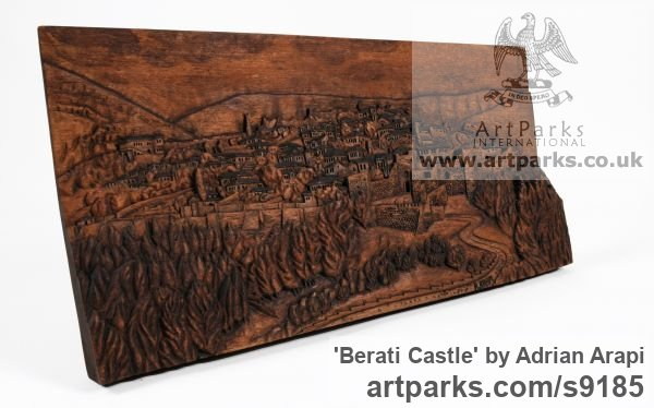 Carved Beech Wood Carved Abstract Contemporary Modern sculpture carving sculpture by sculptor Adrian Arapi titled: 'Berati Castle (Carved Wood Panel relief Wall statues)' - Artwork View 2