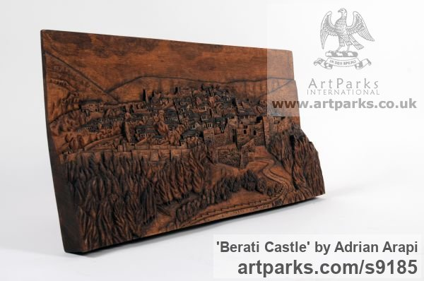 Carved Beech Wood Carved Abstract Contemporary Modern sculpture carving sculpture by sculptor Adrian Arapi titled: 'Berati Castle (Carved Wood Panel relief Wall statues)' - Artwork View 4