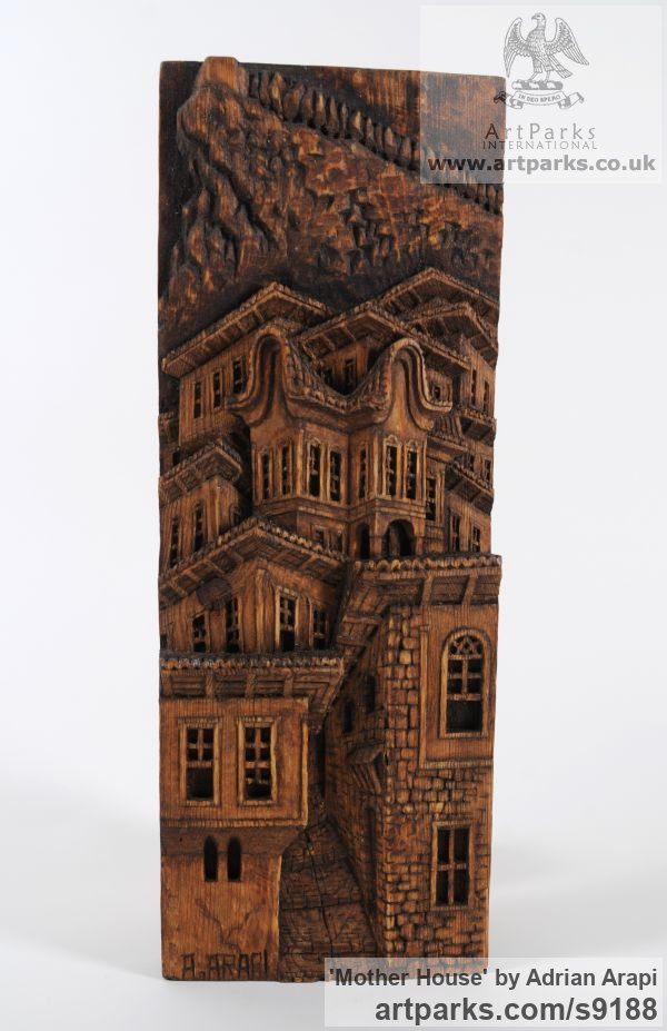 Pine Wood Wall Panel Carved Engraved Cast Moulded sculpture plaque sculpture by sculptor Adrian Arapi titled: 'Mother House (Carved Wood Relief Building sculpture)'