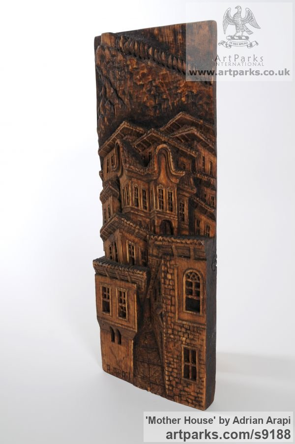 Pine Wood Wall Panel Carved Engraved Cast Moulded sculpture plaque sculpture by sculptor Adrian Arapi titled: 'Mother House (Carved Wood Relief Building sculpture)' - Artwork View 2