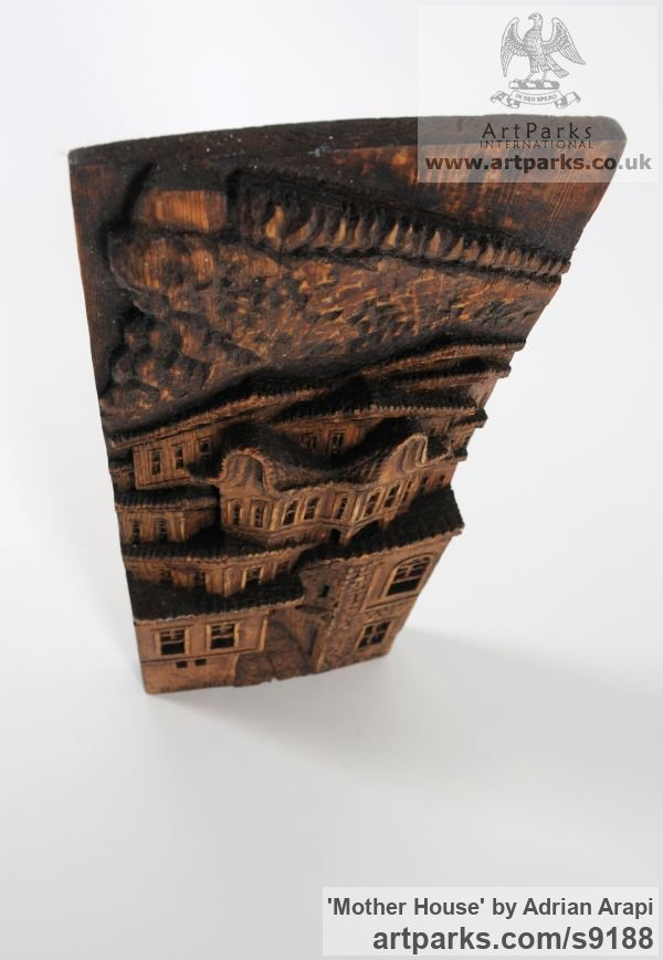 Pine Wood Wall Panel Carved Engraved Cast Moulded sculpture plaque sculpture by sculptor Adrian Arapi titled: 'Mother House (Carved Wood Relief Building sculpture)' - Artwork View 3