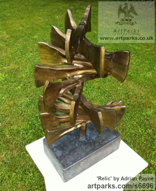 Iron Abstract Contemporary Modern Outdoor Outside Garden / Yard sculpture statuary sculpture by sculptor Adrian Payne titled: 'Relic (Contemporary abstract Iron garden/Yard Spiral statue/sculpture)' - Artwork View 2