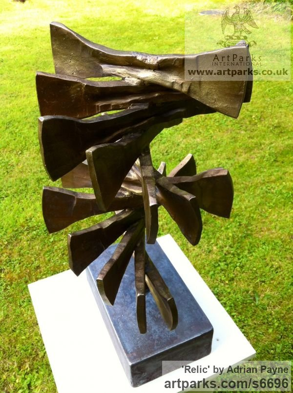 Iron Abstract Contemporary or Modern Outdoor Outside Exterior Garden / Yard sculpture statuary sculpture by sculptor Adrian Payne titled: 'Relic (Contemporary abstract Iron garden/Yard Spiral statue/sculpture)' - Artwork View 3