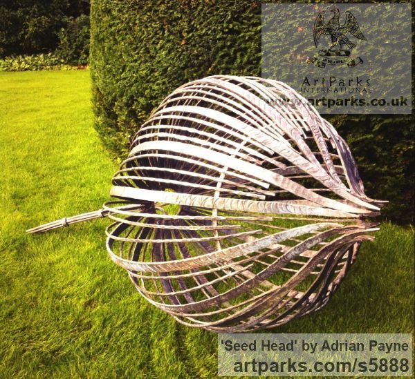 Forged iron Garden Or Yard / Outside and Outdoor sculpture by sculptor Adrian Payne titled: 'Seed Head (Giant Iron Metal garden Plant sculptures)' - Artwork View 2