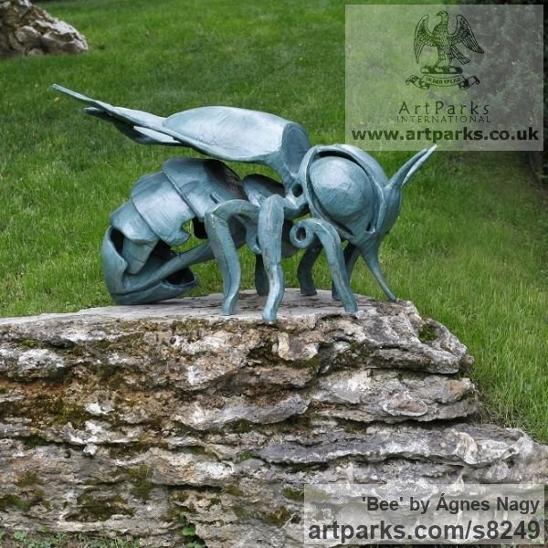 Glazed fireclay Insect Sculptures, to include Bees, Ants, Moths, Butterflies etc sculpture by sculptor �gnes Nagy titled: 'Bee (glazed fireclay Stylised Contemporary abstract Bee statue)'