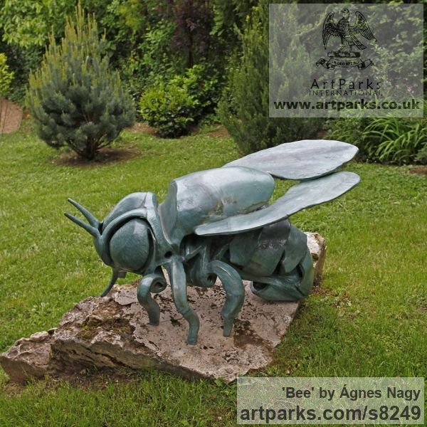 Glazed fireclay Insect Sculptures, to include Bees, Ants, Moths, Butterflies etc sculpture by sculptor �gnes Nagy titled: 'Bee (glazed fireclay Stylised Contemporary abstract Bee statue)' - Artwork View 2
