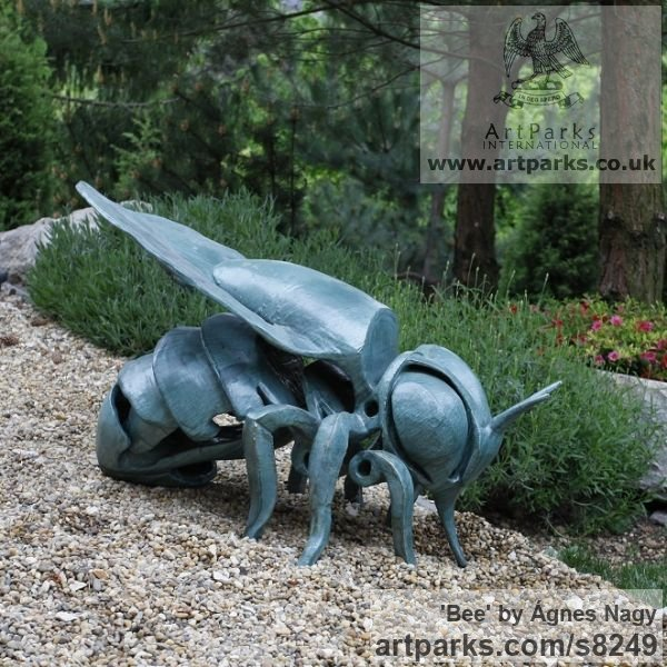Glazed fireclay Insect Sculptures, to include Bees, Ants, Moths, Butterflies etc sculpture by sculptor �gnes Nagy titled: 'Bee (glazed fireclay Stylised Contemporary abstract Bee statue)' - Artwork View 3