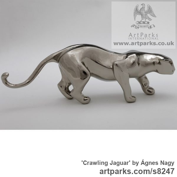Bronze Cats Wild and Big Cats sculpture by sculptor Ágnes Nagy titled: 'Crawling Jaguar (Small Bronze stylised abstract statue)'