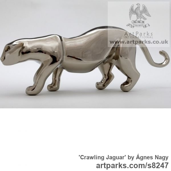 Bronze Cats Wild and Big Cats sculpture by sculptor Ágnes Nagy titled: 'Crawling Jaguar (Small Bronze stylised abstract statue)' - Artwork View 2