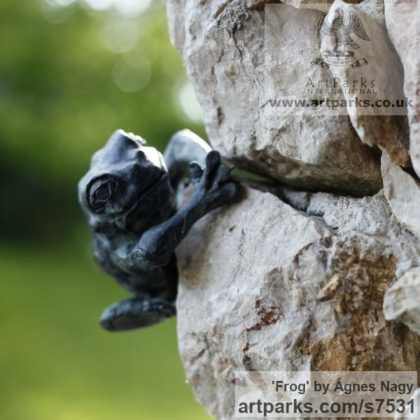 Bronze Wild Animals and Wild Life sculpture by sculptor Ágnes Nagy titled: 'Frog (life size Bronze Climbing Amphibian garden statue)' - Artwork View 1