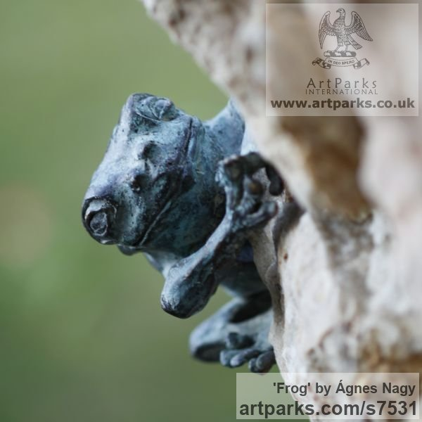 Bronze Wild Animals and Wild Life sculpture by sculptor Ágnes Nagy titled: 'Frog (life size Bronze Climbing Amphibian garden statue)' - Artwork View 2