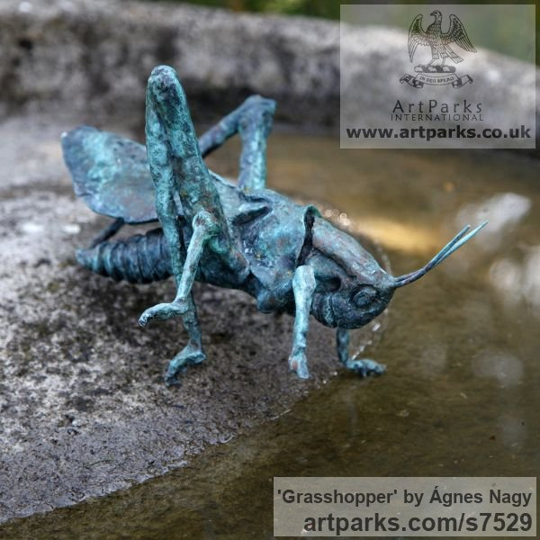 Bronze Garden Or Yard / Outside and Outdoor sculpture by sculptor Ágnes Nagy titled: 'Grasshopper (Bronze Outsize Big garden sculpturette)' - Artwork View 5