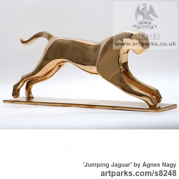 Bronze Cats Wild and Big Cats sculpture by sculptor Ágnes Nagy titled: 'Jumping Jaguar (bronze stylised abstract sculpture)'