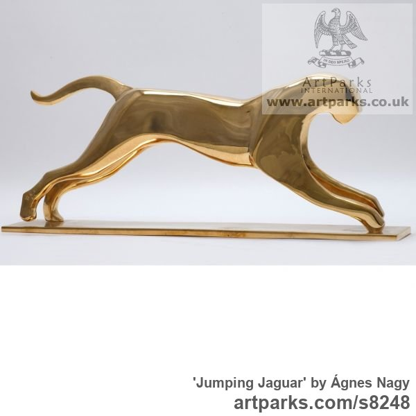 Bronze Cats Wild and Big Cats sculpture by sculptor Ágnes Nagy titled: 'Jumping Jaguar (bronze stylised abstract sculpture)' - Artwork View 2