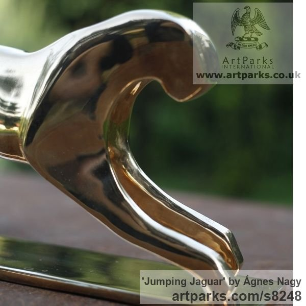 Bronze Cats Wild and Big Cats sculpture by sculptor Ágnes Nagy titled: 'Jumping Jaguar (bronze stylised abstract sculpture)' - Artwork View 3