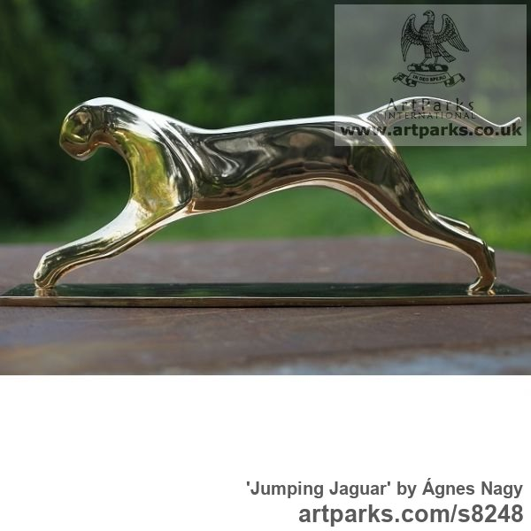Bronze Cats Wild and Big Cats sculpture by sculptor Ágnes Nagy titled: 'Jumping Jaguar (bronze stylised abstract sculpture)' - Artwork View 4