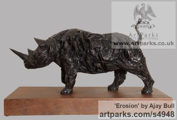 Bronze Garden Or Yard / Outside and Outdoor sculpture by sculptor Ajay Bull titled: 'Erosion (bronze Rhinoceros or Rhino sculptures/statues)'