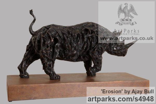 Bronze Garden Or Yard / Outside and Outdoor sculpture by sculptor Ajay Bull titled: 'Erosion (bronze Rhinoceros or Rhino sculptures/statues)' - Artwork View 2