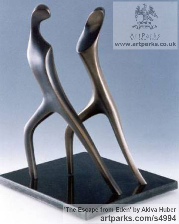 Bronze Biblical Character or Thing sculpturettes sculpture by sculptor Akiva Huber titled: 'The Escape from Eden (Adam and Eve Exodus sculpture)'