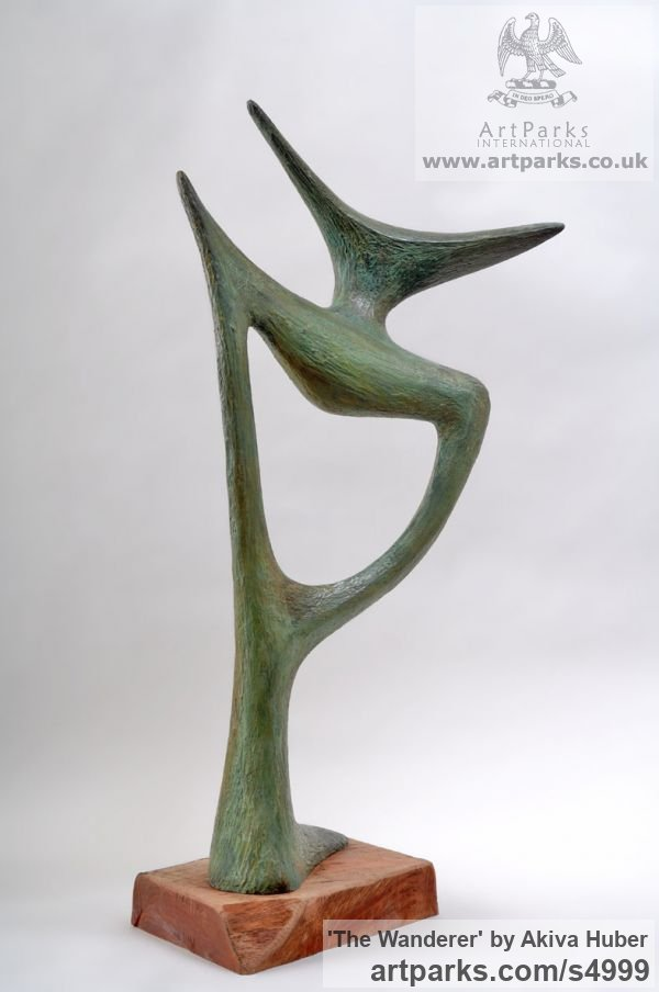 Bronze Garden Or Yard / Outside and Outdoor sculpture by sculptor Akiva Huber titled: 'The Wanderer (Minimalist Modern Bronze abstract statue)'