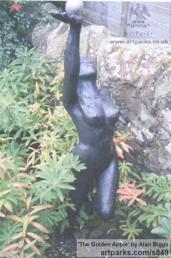Resin Bronze Garden Or Yard / Outside and Outdoor sculpture by sculptor Alan Biggs titled: 'The Golden Apple (Dancing nude Girl Goddess garden sculpturette)' - Artwork View 1