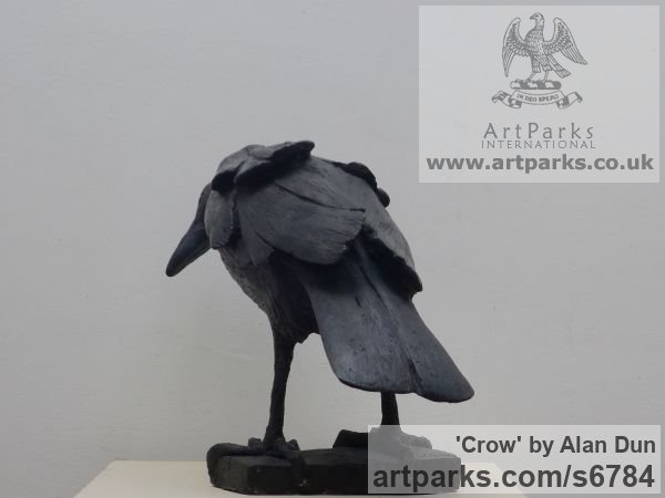 Cast resin Wild Animals and Wild Life sculpture by sculptor Alan Dun titled: 'Crow (life size Black Crow Standing Searching statue/statuette/sculpture)' - Artwork View 2