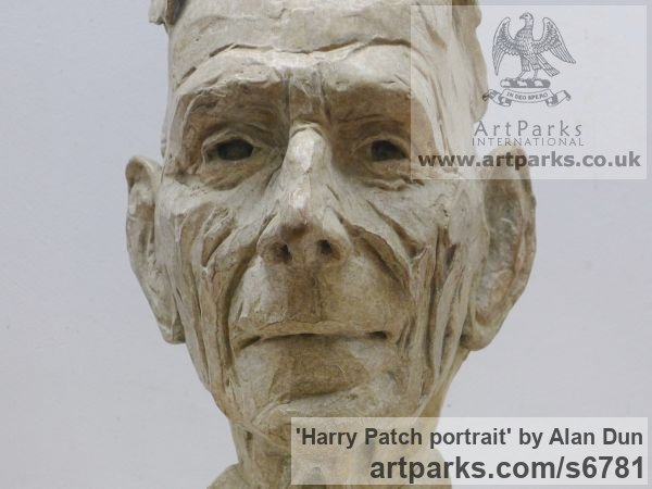 Bronze Portrait Sculptures / Commission or Bespoke or Customised sculpture by sculptor Alan Dun titled: 'Harry Patch portrait (Commission Bronze Bust/Head statues/sculptures)'