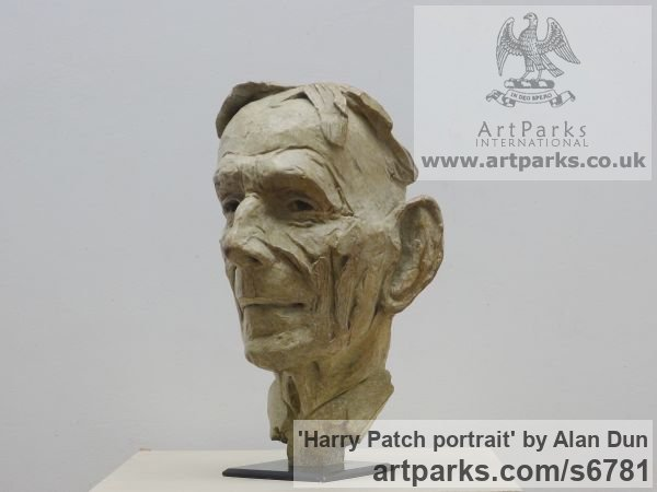 Bronze Portrait Sculptures / Commission or Bespoke or Customised sculpture by sculptor Alan Dun titled: 'Harry Patch portrait (Commission Bronze Bust/Head statues/sculptures)' - Artwork View 2