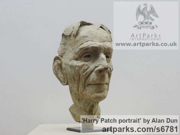 Bronze Portrait Sculptures / Commission or Bespoke or Customised sculpture by sculptor Alan Dun titled: 'Harry Patch portrait (Commission Bronze Bust/Head statues/sculptures)' - Artwork View 3