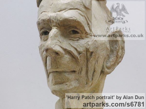 Bronze Portrait Sculptures / Commission or Bespoke or Customised sculpture by sculptor Alan Dun titled: 'Harry Patch portrait (Commission Bronze Bust/Head statues/sculptures)' - Artwork View 4