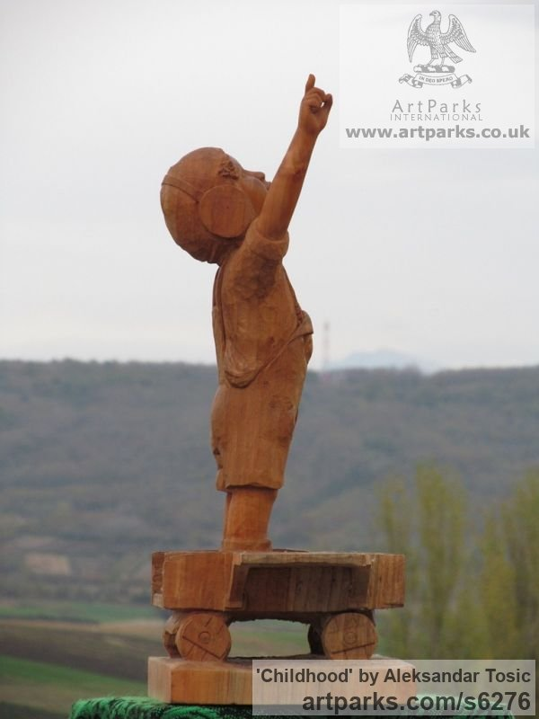 Wood Children Child Babies Infants Toddlers Kids sculpture statuettes figurines sculpture by sculptor Aleksandar Tosic titled: 'Childhood (Carved Wood Small Child Playing statue)' - Artwork View 2