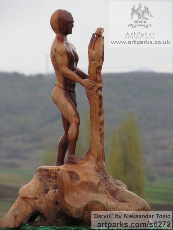 Wood Male Men Youths Masculine sculpturettes figurines sculpture by sculptor Aleksandar Tosic titled: 'Darvill (Small Carved wood nude Young Man statue)' - Artwork View 2