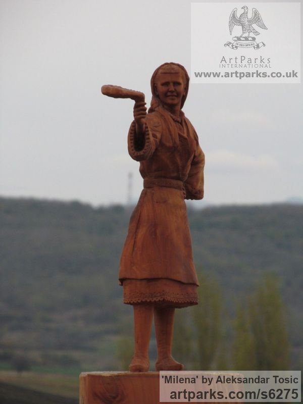 Wood Females Women Girls Ladies sculpture statuettes figurines sculpture by sculptor Aleksandar Tosic titled: 'Milena (Small Carved Wood Country Girl statuette)' - Artwork View 3