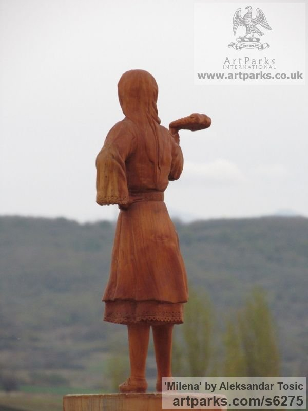 Wood Females Women Girls Ladies sculpture statuettes figurines sculpture by sculptor Aleksandar Tosic titled: 'Milena (Small Carved Wood Country Girl statuette)' - Artwork View 4