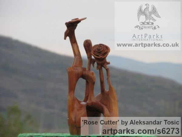 Wood Objets Trouve or Found Objects Sculptures or sculpture by sculptor Aleksandar Tosic titled: 'Rose Cutter (Little abstract Modern Carved Root Wood statuettes/carving)'