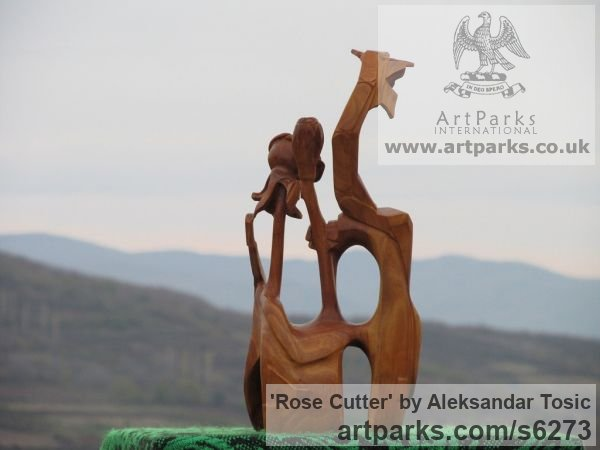 Wood Objets Trouve or Found Objects Sculptures or sculpture by sculptor Aleksandar Tosic titled: 'Rose Cutter (Little abstract Modern Carved Root Wood statuettes/carving)' - Artwork View 3