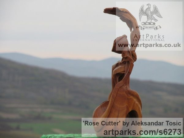 Wood Objets Trouve or Found Objects Sculptures or sculpture by sculptor Aleksandar Tosic titled: 'Rose Cutter (Little abstract Modern Carved Root Wood statuettes/carving)' - Artwork View 4