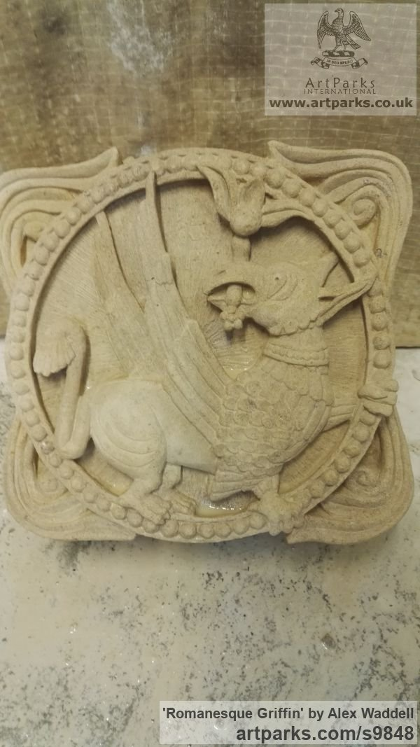 high relief carving. lime stone wall panel carved engraved cast moulded sculpture plaque by sculptor alex waddell titled high relief carving t