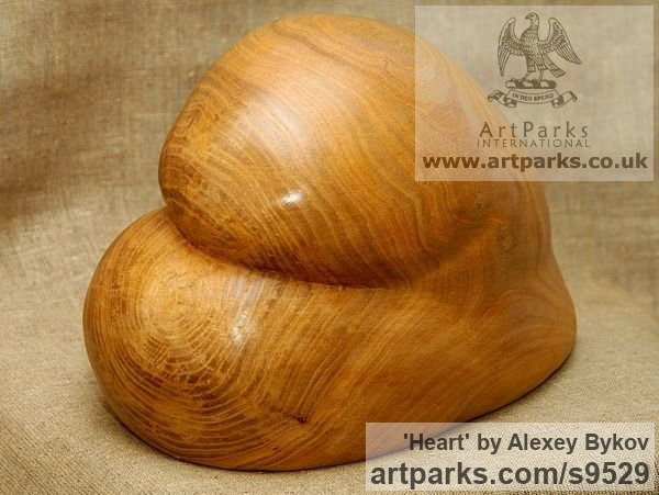 Carved wood karagach (elm tree species) Carved Abstract Contemporary Modern sculpture carving sculpture by sculptor Alexey Bykov titled: 'Heart (Carved Buttuck shaped wood sculpturettes)' - Artwork View 3