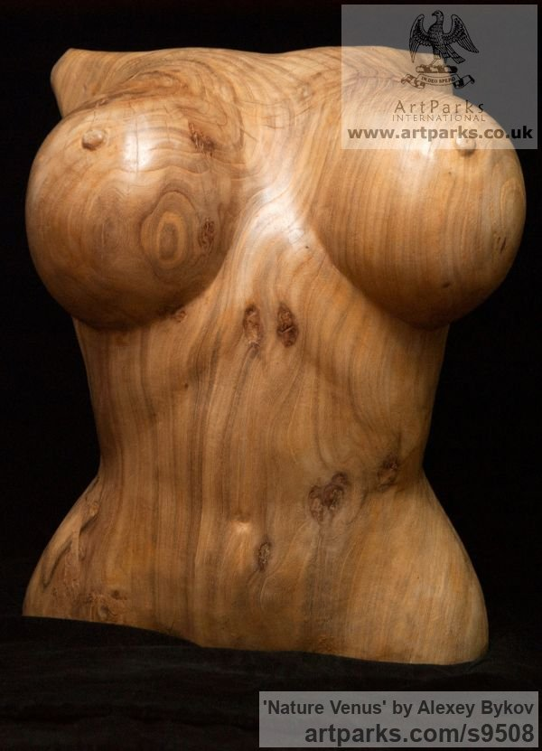 Carved wood karagach (elm tree species) Earth Mother Gaia sculpture statuettes figurines sculpture by sculptor Alexey Bykov titled: 'Nature Venus (Carved Wood Big Breast Torso statuette)' - Artwork View 2