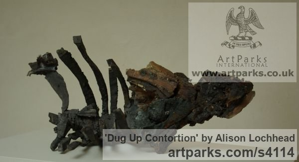 Cast Iron and Ceramic Archaeology inspired sculpture sculpture by sculptor Alison Lochhead titled: 'Dug Up Contortion (Ship wreck metal Contemporary/statues/ornament)' - Artwork View 4