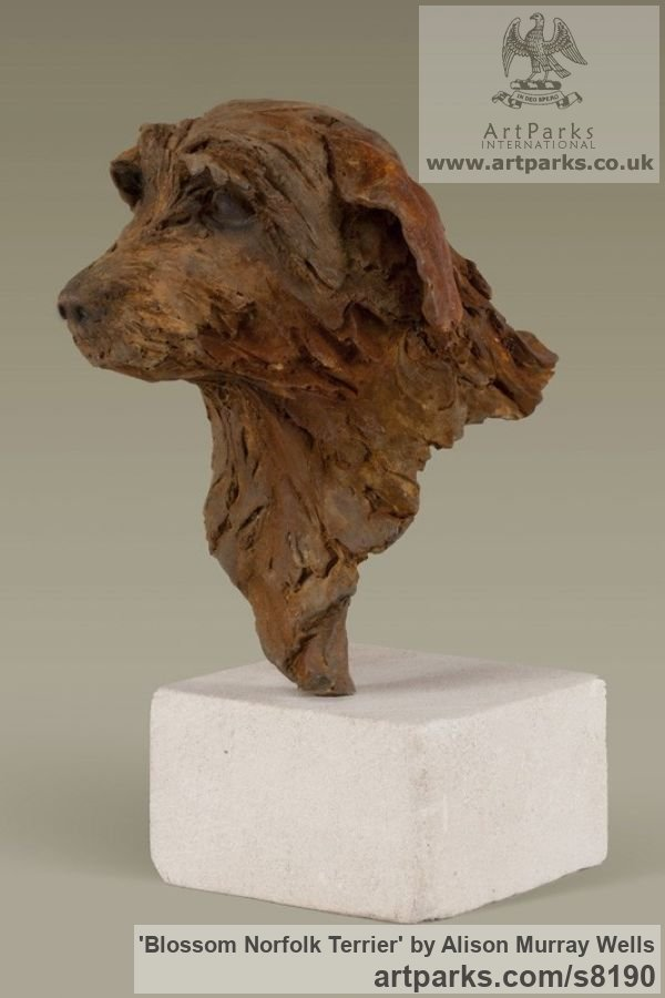 Cold cast Iron Dogs sculpture by sculptor Alison Murray Wells titled: 'Blossom - Norfolk Terrier'