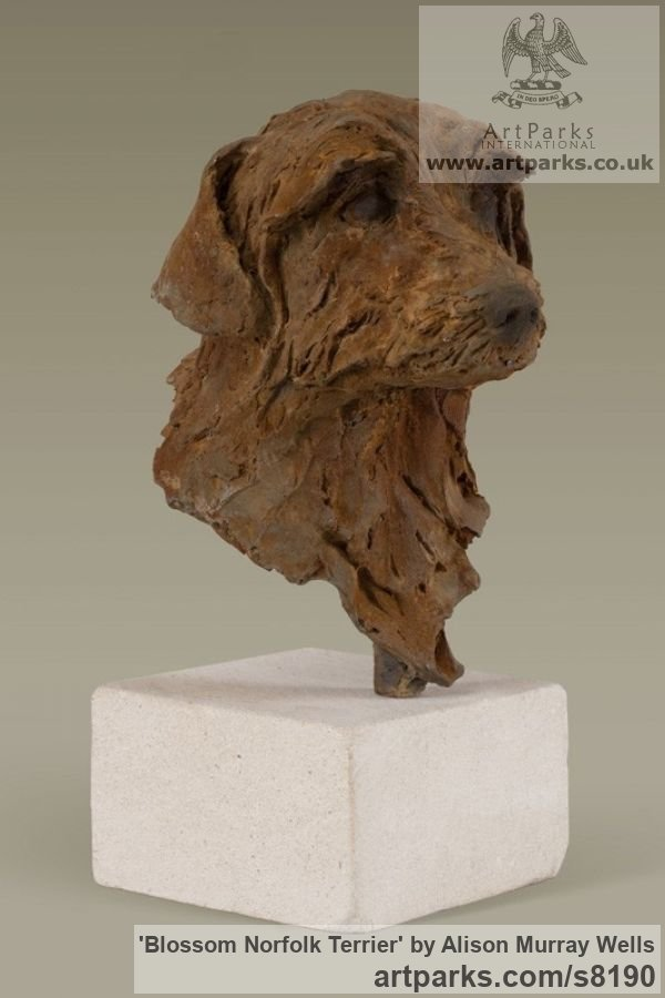 Cold cast Iron Dogs sculpture by sculptor Alison Murray Wells titled: 'Blossom - Norfolk Terrier' - Artwork View 2