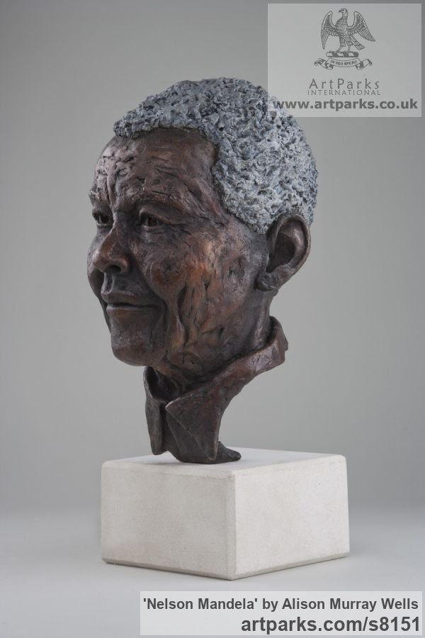 Bronze Portrait Sculptures / Commission or Bespoke or Customised sculpture by sculptor Alison Murray Wells titled: 'Nelson Mandela (Bronze Head Bust of South African President statue)'