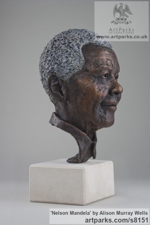 Bronze Portrait Sculptures / Commission or Bespoke or Customised sculpture by sculptor Alison Murray Wells titled: 'Nelson Mandela (Bronze Head Bust of South African President statue)' - Artwork View 2