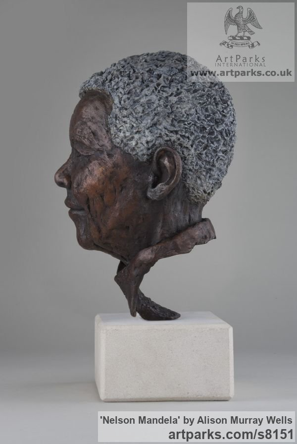 Bronze Portrait Sculptures / Commission or Bespoke or Customised sculpture by sculptor Alison Murray Wells titled: 'Nelson Mandela (Bronze Head Bust of South African President statue)' - Artwork View 3