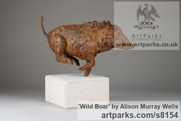 Cold cast Iron or Bronze Wild Animals and Wild Life sculpture by sculptor Alison Murray Wells titled: 'Wild Boar (Small Running Bronze Fleeing sculpturette ornament)'