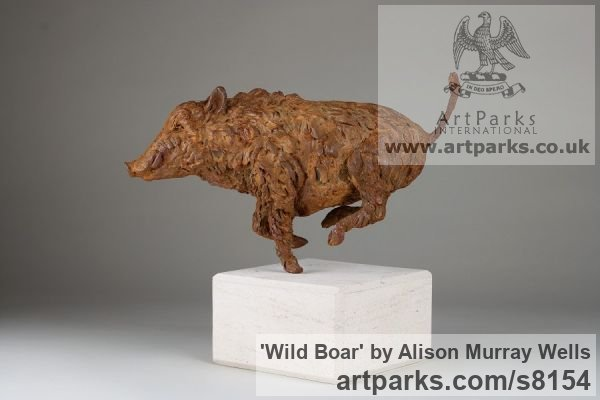 Cold cast Iron or Bronze Wild Animals and Wild Life sculpture by sculptor Alison Murray Wells titled: 'Wild Boar (Small Running Bronze Fleeing sculpturette ornament)' - Artwork View 2